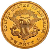 1854-S Twenty Dollar Gold Reverse