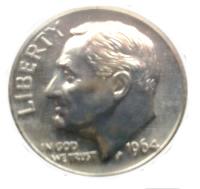 1964 Roosevelt Dime Obverse